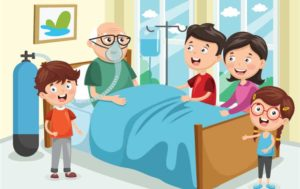 A family standing around an old man in a hospital bed who has a breathing mask on.